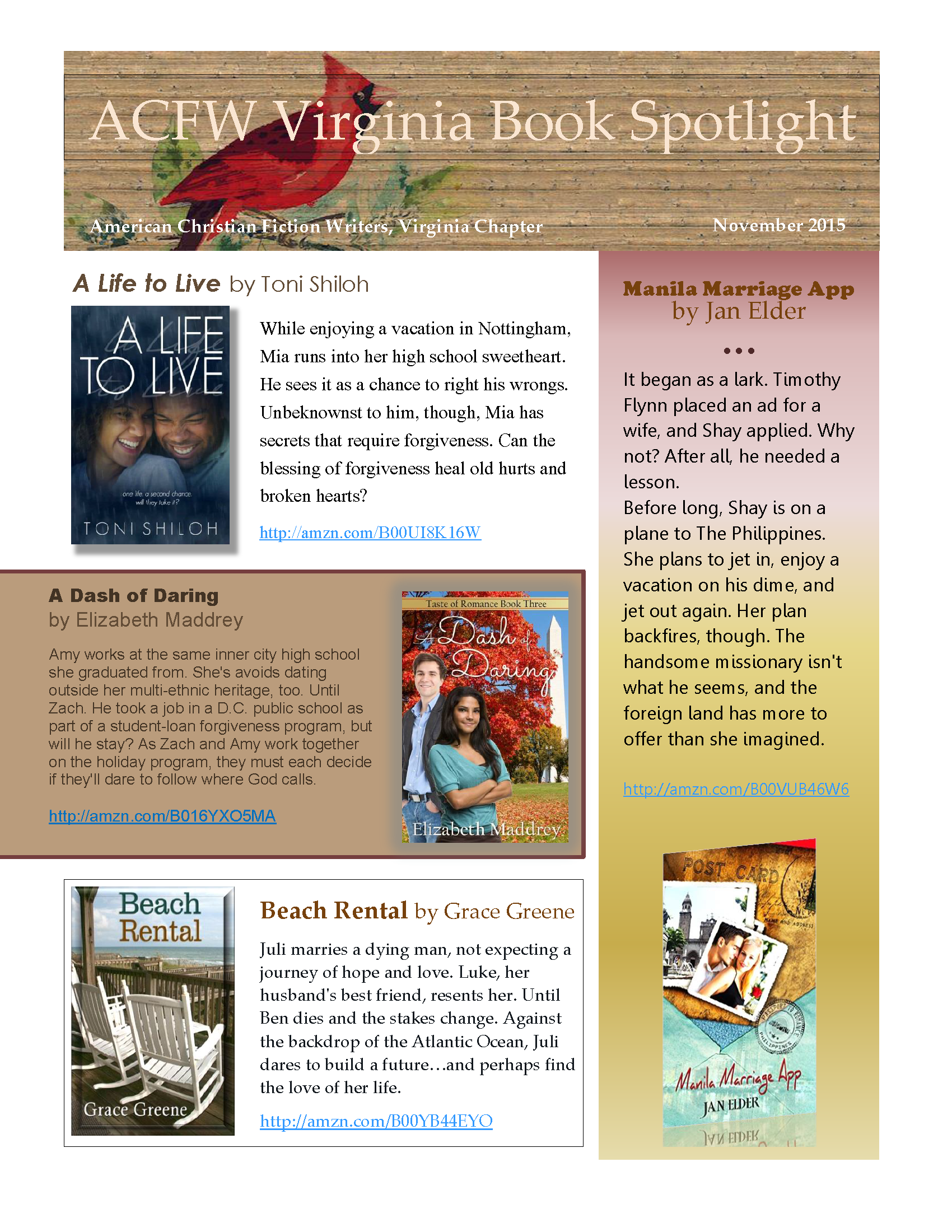 ACFW Virginia Book Spotlight November 2015